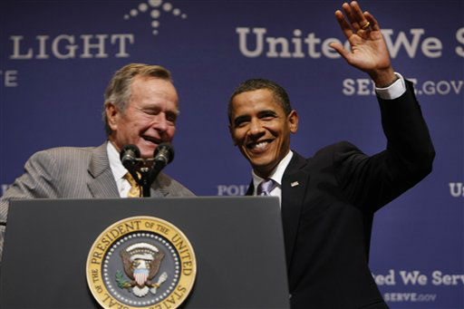 "<div class=""meta image-caption""><div class=""origin-logo origin-image none""><span>none</span></div><span class=""caption-text"">President Barack Obama is introduced by former President George H.W. Bush at Texas A&M  University in College Station, Texas, Friday, Oct. 16, 2009.  (AP Photo/ Gerald Herbert)</span></div>"