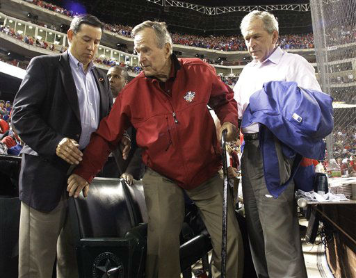 "<div class=""meta image-caption""><div class=""origin-logo origin-image none""><span>none</span></div><span class=""caption-text"">Former President George H.W. Bush leaves his seat during Game 4 of baseball's World Series between the San Francisco Giants and the Texas Rangers Sunday, Oct. 31, 2010.  (AP Photo/ David J. Phillip)</span></div>"