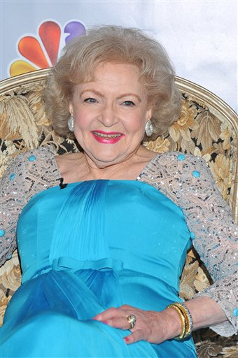 <div class='meta'><div class='origin-logo' data-origin='none'></div><span class='caption-text' data-credit='AP'>In this Jan. 8, 2012 file photo, actress Betty White is shown prior to the taping of &#34;Betty White's 90th Birthday: A Tribute To America's Golden Girl&#34; in Los Angeles.</span></div>
