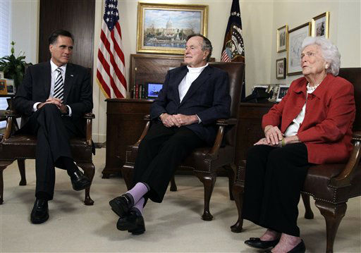 <div class='meta'><div class='origin-logo' data-origin='none'></div><span class='caption-text' data-credit='AP Photo/ Pat Sullivan'>Former Massachusetts Gov. Mitt Romney, left, meets with former President George H.W. Bush and Barbara Bush to receive their endorsements Thursday, March 29, 2012, in Houston.</span></div>