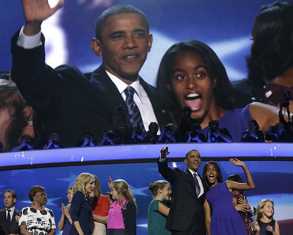 <div class='meta'><div class='origin-logo' data-origin='none'></div><span class='caption-text' data-credit='AP'>Sept. 6, 2012 file photo, President Obama and his daughter Malia wave after President Obama's speech to the Democratic National Convention in N.C  (AP Photo/Charles Dharapak, File)</span></div>