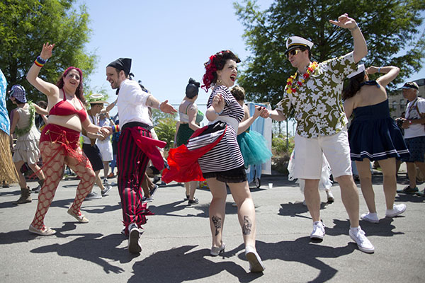 "<div class=""meta image-caption""><div class=""origin-logo origin-image ap""><span>AP</span></div><span class=""caption-text"">Participants rehearse their dance moves before marching in the 34th Annual Mermaid Parade, Saturday, June 18, 2016, in New York's Coney Island. (AP Photo/Mary Altaffer) (AP)</span></div>"