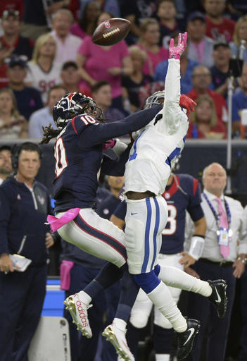 "<div class=""meta image-caption""><div class=""origin-logo origin-image ap""><span>AP</span></div><span class=""caption-text"">Indianapolis Colts' Vontae Davis (21) breaks up pass intended for Houston Texans' DeAndre Hopkins (10) during the game Sunday, October, 16, 2016, in Houston. (George Bridges)</span></div>"