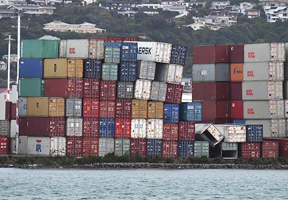 <div class='meta'><div class='origin-logo' data-origin='AP'></div><span class='caption-text' data-credit='Ross Setford/SNPA via AP'>Stacked containers on angles at Centre Port, Wellington, Monday, November 14, 2016, after a major earthquake struck New Zealand's south Island early Monday.</span></div>