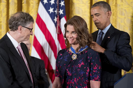 "<div class=""meta image-caption""><div class=""origin-logo origin-image ap""><span>AP</span></div><span class=""caption-text"">President Barack Obama, accompanied by Bill Gates, left, presents the Presidential Medal of Freedom to Melinda Gates, center, Tuesday, Nov. 22, 2016. (AP Photo/Andrew Harnik) (AP)</span></div>"