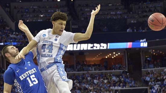 <div class='meta'><div class='origin-logo' data-origin='AP'></div><span class='caption-text' data-credit='AP'>North Carolina forward Justin Jackson (44) loses the ball against Kentucky forward Isaac Humphries (15) in the first half of the South Regional final game. (AP Photo/Brandon Dill)</span></div>