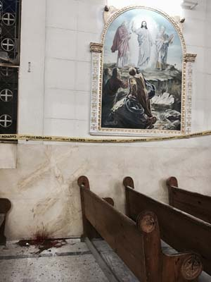 <div class='meta'><div class='origin-logo' data-origin='AP'></div><span class='caption-text' data-credit='AP'>Blood stains the floor inside the St. George Church after a suicide bombing, in the Nile Delta town of Tanta, Egypt, Sunday, April 9, 2017. (AP Photo/Nariman El-Mofty)</span></div>