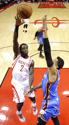<div class='meta'><div class='origin-logo' data-origin='AP'></div><span class='caption-text' data-credit='AP'>Houston Rockets' Patrick Beverley (2) shoots as Oklahoma City Thunder's Andre Roberson defends during the first half in Game 5 (AP Photo/David J. Phillip)</span></div>