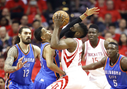 <div class='meta'><div class='origin-logo' data-origin='AP'></div><span class='caption-text' data-credit='AP'>Houston Rockets' James Harden (13) drives toward the basket as Oklahoma City Thunder's Andre Roberson defends during the first half in Game 5 (AP Photo/David J. Phillip)</span></div>