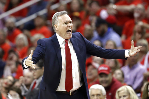 <div class='meta'><div class='origin-logo' data-origin='AP'></div><span class='caption-text' data-credit='AP'>Houston Rockets coach Mike D'Antoni yells at the officials during the first half against the Oklahoma City Thunder in Game 5 (AP Photo/David J. Phillip)</span></div>