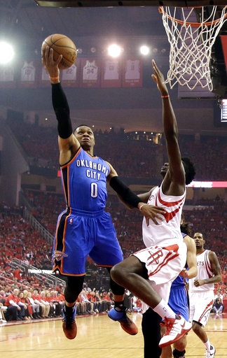 <div class='meta'><div class='origin-logo' data-origin='AP'></div><span class='caption-text' data-credit='AP'>Oklahoma City Thunder's Russell Westbrook (0) goes up for a shot as Houston Rockets' Clint Capela defends during the first half in Game 5 (AP Photo/David J. Phillip)</span></div>