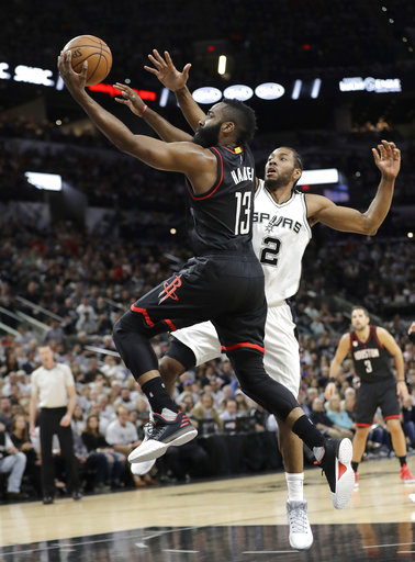 "<div class=""meta image-caption""><div class=""origin-logo origin-image ap""><span>AP</span></div><span class=""caption-text"">Houston Rockets guard James Harden (13) drives past San Antonio Spurs forward Kawhi Leonard (2), Monday, May 1, 2017, in San Antonio. (AP Photo/Eric Gay) (AP)</span></div>"