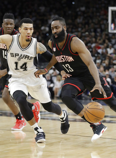 "<div class=""meta image-caption""><div class=""origin-logo origin-image ap""><span>AP</span></div><span class=""caption-text"">Houston Rockets guard James Harden (13) drives around San Antonio Spurs guard Danny Green (14), Monday, May 1, 2017, in San Antonio. (AP Photo/Eric Gay) (AP)</span></div>"