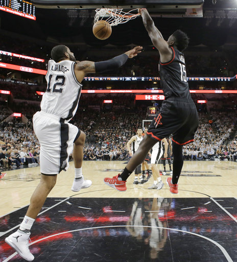 "<div class=""meta image-caption""><div class=""origin-logo origin-image ap""><span>AP</span></div><span class=""caption-text"">Houston Rockets center Clint Capela (15) score over San Antonio Spurs forward LaMarcus Aldridge (12), Monday, May 1, 2017, in San Antonio. (AP Photo/Eric Gay) (AP)</span></div>"