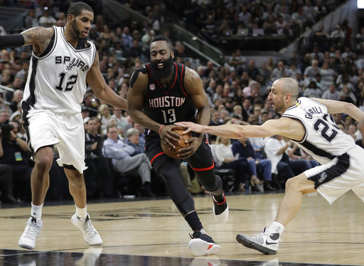 "<div class=""meta image-caption""><div class=""origin-logo origin-image ap""><span>AP</span></div><span class=""caption-text"">Houston Rockets guard James Harden (13) drives between San Antonio Spurs forward LaMarcus Aldridge (12) and guard Manu Ginobili (20), Monday, May 1, 2017. (AP Photo/Eric Gay) (AP)</span></div>"
