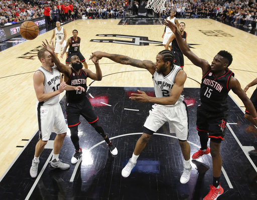"<div class=""meta image-caption""><div class=""origin-logo origin-image ap""><span>AP</span></div><span class=""caption-text"">San Antonio Spurs forward Kawhi Leonard (2) passes the ball past Houston Rockets guard James Harden (13) to teammate David Lee (10), Monday, May 1, 2017. (AP Photo/Eric Gay) (AP)</span></div>"
