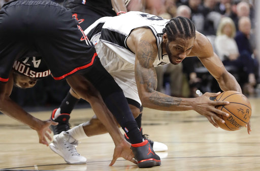 "<div class=""meta image-caption""><div class=""origin-logo origin-image ap""><span>AP</span></div><span class=""caption-text"">San Antonio Spurs forward Kawhi Leonard (2) is fouled by Houston Rockets center Nene Hilario (42), Monday, May 1, 2017. (AP Photo/Eric Gay) (AP)</span></div>"