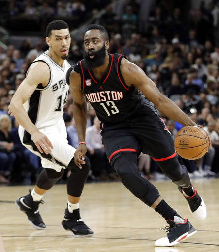 """<div class=""""meta image-caption""""><div class=""""origin-logo origin-image ap""""><span>AP</span></div><span class=""""caption-text"""">Houston Rockets guard James Harden (13) drives to the basket past San Antonio Spurs' Danny Green (14) during the first half of Game 2. (AP Photo/Eric Gay) (AP)</span></div>"""