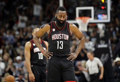 """<div class=""""meta image-caption""""><div class=""""origin-logo origin-image ap""""><span>AP</span></div><span class=""""caption-text"""">Houston Rockets' James Harden (13) walks to the bench during the first half of Game 2 against the San Antonio Spurs on Wednesday, May 3, 2017, in San Antonio. (AP Photo/Eric Gay) (AP)</span></div>"""