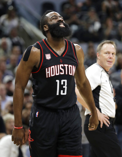 """<div class=""""meta image-caption""""><div class=""""origin-logo origin-image ap""""><span>AP</span></div><span class=""""caption-text"""">Houston Rockets' James Harden (13) grimaces after chasing a ball out of bounds on Wednesday, May 3, 2017, in San Antonio. (AP Photo/Eric Gay) (AP)</span></div>"""