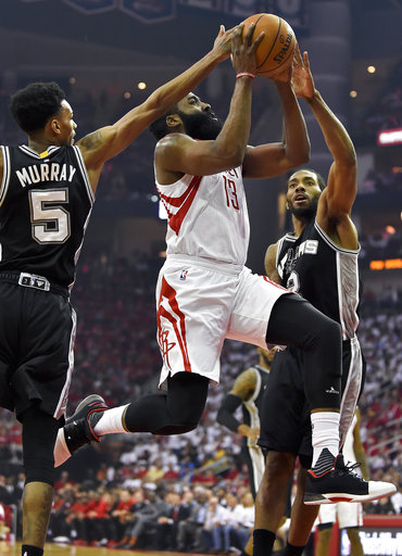 "<div class=""meta image-caption""><div class=""origin-logo origin-image ap""><span>AP</span></div><span class=""caption-text"">Houston Rockets guard James Harden (13) drives past San Antonio Spurs guard Dejounte Murray (5) and forward Kawhi Leonard (2) Friday, May 5, 2017 (AP Photo/Eric Christian Smith) (AP)</span></div>"