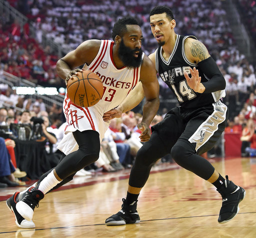 "<div class=""meta image-caption""><div class=""origin-logo origin-image ap""><span>AP</span></div><span class=""caption-text"">Houston Rockets guard James Harden (13) drives past San Antonio Spurs guard Danny Green (14) during Game 3, Friday, May 5, 2017, in Houston. (AP Photo/Eric Christian Smith) (AP)</span></div>"