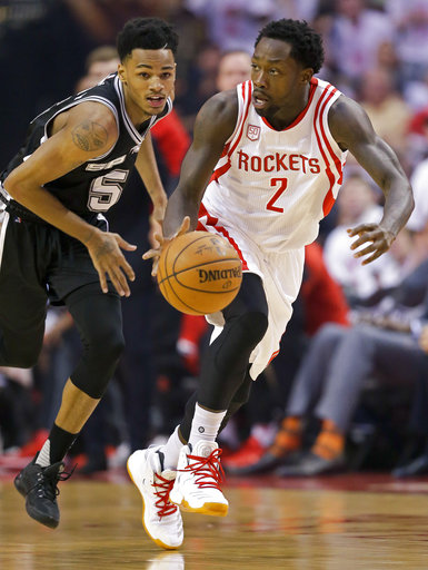 "<div class=""meta image-caption""><div class=""origin-logo origin-image ap""><span>AP</span></div><span class=""caption-text"">Houston Rockets guard Patrick Beverley (2) dribbles past San Antonio Spurs guard Dejounte Murray (5) duringGame 3, Friday, May 5, 2017, in Houston. (AP Photo/Eric Christian Smith) (AP)</span></div>"