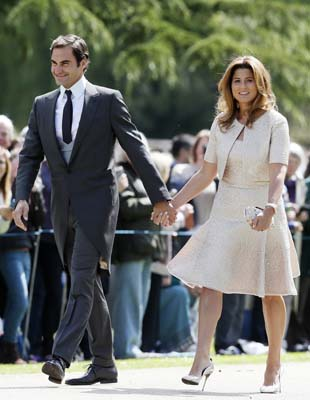 <div class='meta'><div class='origin-logo' data-origin='AP'></div><span class='caption-text' data-credit='AP'>Swiss tennis player Roger Federer and his wife Mirka arrive at St Mark's Church, ahead of the wedding of Pippa Middleton and James Matthews (AP Photo/Kirsty Wigglesworth, Pool)</span></div>