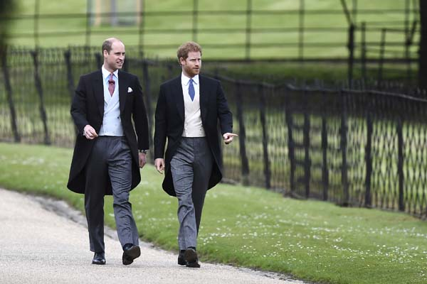 <div class='meta'><div class='origin-logo' data-origin='AP'></div><span class='caption-text' data-credit='AP'>Britain's Prince William, left and Prince Harry, arrive for the wedding of Pippa Middleton and James Matthews at St Markâ€s Church (Justin Tallis/Pool Photo via AP)</span></div>
