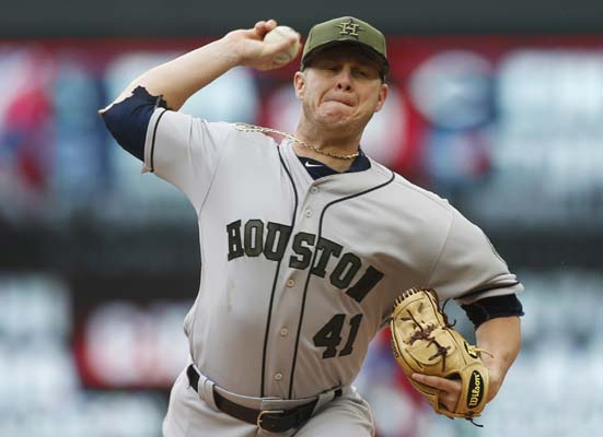 """<div class=""""meta image-caption""""><div class=""""origin-logo origin-image ap""""><span>AP</span></div><span class=""""caption-text"""">Houston Astros pitcher Brad Peacock throws against the Minnesota Twins in the first inning of a baseball game Monday, May 29, 2017, in Minneapolis. (AP Photo/Jim Mone) (AP)</span></div>"""