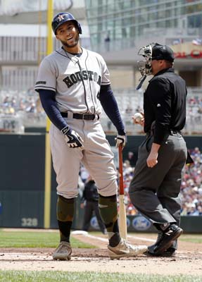 """<div class=""""meta image-caption""""><div class=""""origin-logo origin-image ap""""><span>AP</span></div><span class=""""caption-text"""">Houston Astros' George Springer, left, reacts after he was called out looking by plate umpire DJ Reyburn (AP Photo/Jim Mone) (AP)</span></div>"""