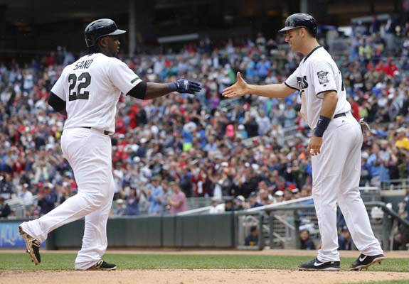 """<div class=""""meta image-caption""""><div class=""""origin-logo origin-image ap""""><span>AP</span></div><span class=""""caption-text"""">Minnesota Twins' Miguel Sano, left, is congratulated by Joe Mauer on his two-run home run off Houston Astros pitcher Jordan Jankowski in the fifth inning  (AP Photo/Jim Mone) (AP)</span></div>"""