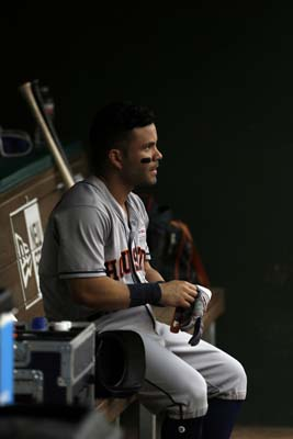 """<div class=""""meta image-caption""""><div class=""""origin-logo origin-image ap""""><span>AP</span></div><span class=""""caption-text"""">Houston Astros' Jose Altuve sits in the dugout in the first inning of a baseball game against the Texas Rangers on Saturday, June 3, 2017(AP Photo/Tony Gutierrez) (AP)</span></div>"""