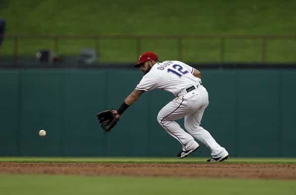 "<div class=""meta image-caption""><div class=""origin-logo origin-image ap""><span>AP</span></div><span class=""caption-text"">Texas Rangers second baseman Rougned Odor fields a ground ball from the Houston Astros during a baseball game, (AP Photo/Tony Gutierrez) (AP)</span></div>"