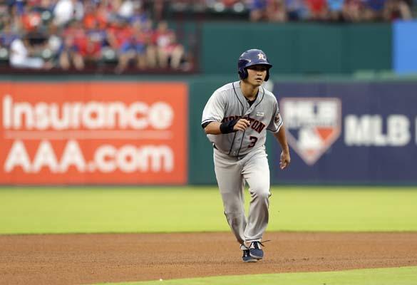 "<div class=""meta image-caption""><div class=""origin-logo origin-image ap""><span>AP</span></div><span class=""caption-text"">Houston Astros' Norichika Aoki of Japan heads to third during a baseball game against the Texas Rangers in the fourth inning  (AP Photo/Tony Gutierrez) (AP)</span></div>"