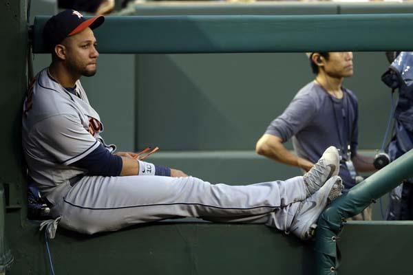 "<div class=""meta image-caption""><div class=""origin-logo origin-image ap""><span>AP</span></div><span class=""caption-text"">Houston Astros first baseman Yuli Gurriel sits in the dugout during a baseball game against the Texas Rangers on Saturday, June 3, 2017, Texas. (AP Photo/Tony Gutierrez) (AP)</span></div>"