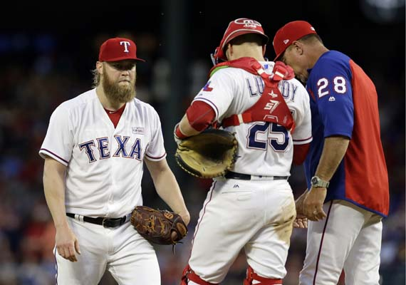 """<div class=""""meta image-caption""""><div class=""""origin-logo origin-image ap""""><span>AP</span></div><span class=""""caption-text"""">Texas Rangers' Andrew Cashner, left, talks with catcher Jonathan Lucroy and manager Jeff Banister, right, on the mound during a game against the Astros(AP Photo/Tony Gutierrez) (AP)</span></div>"""