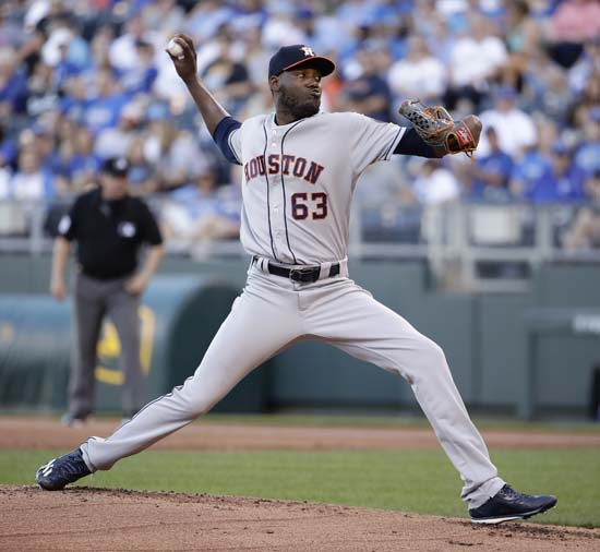 "<div class=""meta image-caption""><div class=""origin-logo origin-image ap""><span>AP</span></div><span class=""caption-text"">Houston Astros starting pitcher David Paulino throws during the first inning of a baseball game against the Kansas City Royals Tuesday, June 6, 2017, in Kansas City, Mo. (Charlie Riedel)</span></div>"