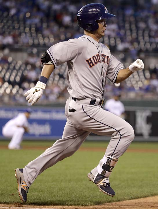 "<div class=""meta image-caption""><div class=""origin-logo origin-image ap""><span>AP</span></div><span class=""caption-text"">Houston Astros' Norichika Aoki runs to first after hitting a single during the fifth inning of a baseball game against the Kansas City Royals. (Charlie Riedel)</span></div>"