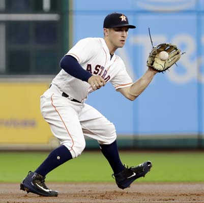 "<div class=""meta image-caption""><div class=""origin-logo origin-image ap""><span>AP</span></div><span class=""caption-text"">Alex Bregman fields a ground ball by Maldonado before throwing to second base Maldonado was out at first an Escobar was out at second on the play. (AP Photo/David J. Phillip) (AP)</span></div>"
