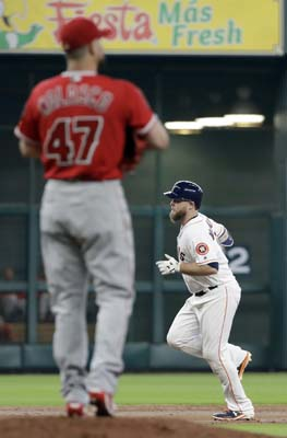 "<div class=""meta image-caption""><div class=""origin-logo origin-image ap""><span>AP</span></div><span class=""caption-text"">Houston Astros' Brian McCann, right, runs the bases after hitting a home run off Los Angeles Angels starting pitcher Ricky Nolasco (47)  (AP Photo/David J. Phillip) (AP)</span></div>"