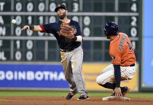 "<div class=""meta image-caption""><div class=""origin-logo origin-image ap""><span>AP</span></div><span class=""caption-text"">Red Sox second baseman Dustin Pedroia turns a double play past Astros' George Springer during the fourth inning . Jose Altuve was out at first. (AP Photo/Eric Christian Smith) (AP)</span></div>"