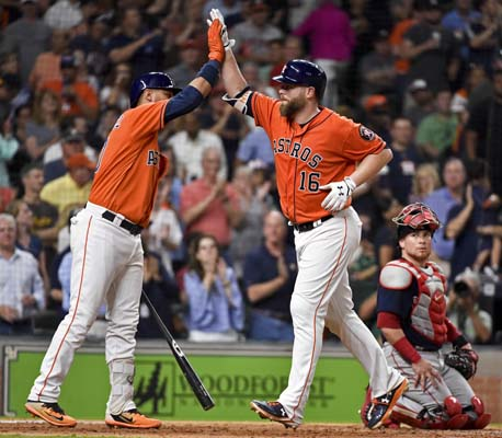 "<div class=""meta image-caption""><div class=""origin-logo origin-image ap""><span>AP</span></div><span class=""caption-text"">Astros' Brian McCann (16) celebrates his game-tying solo home run off Red Sox starting pitcher Drew Pomeranz with Yuli Gurriel   (AP Photo/Eric Christian Smith) (AP)</span></div>"