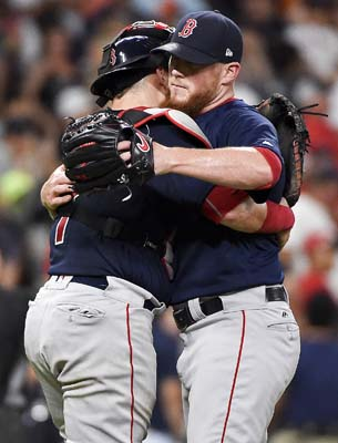 "<div class=""meta image-caption""><div class=""origin-logo origin-image ap""><span>AP</span></div><span class=""caption-text"">Boston Red Sox relief pitcher Craig Kimbrel, right, hugs catcher Christian Vazquez after their win over the Houston Astros  (AP Photo/Eric Christian Smith) (AP)</span></div>"