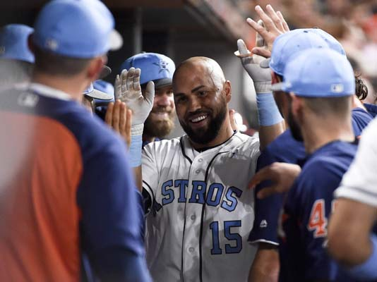 "<div class=""meta image-caption""><div class=""origin-logo origin-image ap""><span>AP</span></div><span class=""caption-text"">Houston Astros' Carlos Beltran (15) celebrates his two-run home run off Boston Red Sox starting pitcher Rick Porcello  (AP Photo/Eric Christian Smith) (AP)</span></div>"