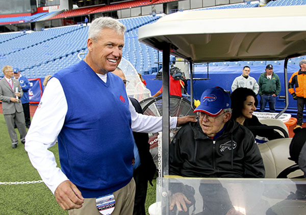 <div class='meta'><div class='origin-logo' data-origin='none'></div><span class='caption-text' data-credit='AP'>Buffalo Bills head coach Rex Ryan, left, visits with his father Buddy Ryan before an NFL football game on Sunday, Sept. 13, 2015, in Orchard Park, N.Y. (AP Photo/Bill Wippert)</span></div>