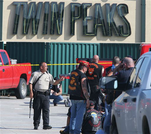 <div class='meta'><div class='origin-logo' data-origin='none'></div><span class='caption-text' data-credit='AP Photo/ Jerry Larson'>Authorities investigate a shooting in the parking lot of the Twin Peaks restaurant Sunday, May 17, 2015, in Waco, Texas.</span></div>