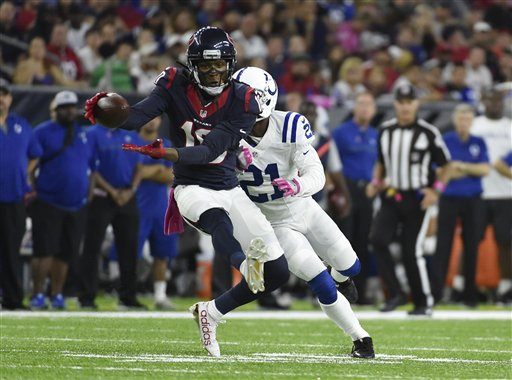"<div class=""meta image-caption""><div class=""origin-logo origin-image ap""><span>AP</span></div><span class=""caption-text"">Houston Texans wide receiver DeAndre Hopkins (10) pulls in a catch as Indianapolis Colts cornerback Vontae Davis (21) defends on the play, Sunday, Oct. 16, 2016, in Houston. (Eric Christian Smith)</span></div>"