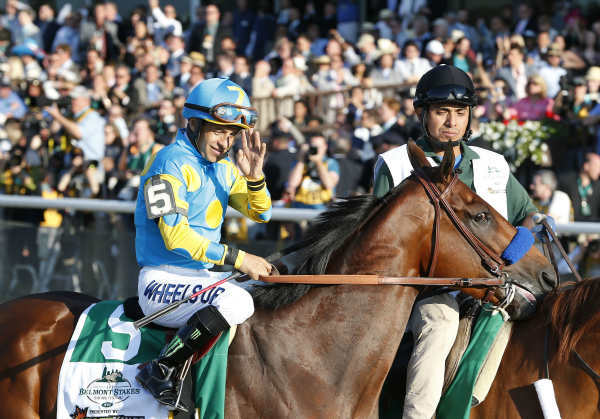 "<div class=""meta image-caption""><div class=""origin-logo origin-image none""><span>none</span></div><span class=""caption-text"">American Pharoah (5) with Victor Espinoza up parades to the starting gate before the 147th running of the Belmont Stakes horse race at Belmont Park (AP Photo/ Julio Cortez)</span></div>"