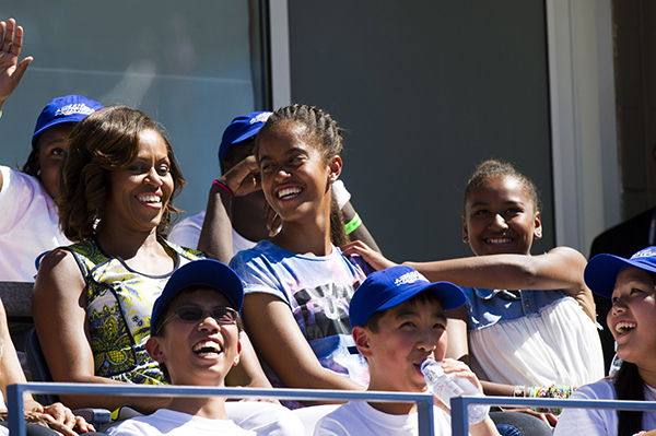 <div class='meta'><div class='origin-logo' data-origin='none'></div><span class='caption-text' data-credit='Charles Sykes/Invision/AP'>Michelle Obama, Malia and Sahsa attend the kick off to the 2013 US Open tennis tournament,Aug. 24, 2013. (Photo by Charles Sykes/Invision/AP)</span></div>